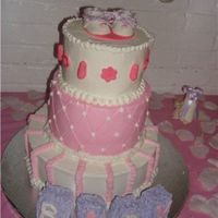 Baby Booty This is a 3 tier tres leches cake with booties done in Fondant.
