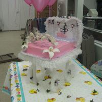 Baby Stroller   This is a stroller cake decorated with ruffles and flowers.