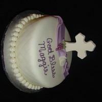 "1St Communion double layer 12"" round. Cross is candy melts and other accents are MMF"