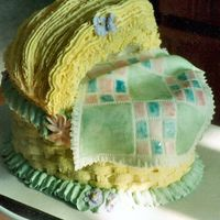 Pastel Baby Cradle Cake I made a two layer 8' oval cake stacked and frosted as normal then added a half of a bowl cake trimmed to fit on top. I scured top in...