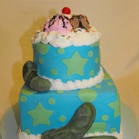 "Pickles And Ice Cream butter cream with fondant accessories ""ice cream"" and whip cream on top are made from buttercream"