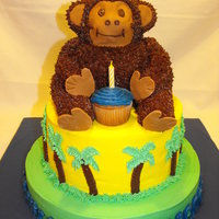 "Beach Monkey Cake This was my first ""animal"" cake. The monkey is cake and the arms and legs are RKT."