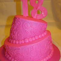 "All Pink Topsy Turvy 6"" and 9"" inch round all with buttercream and fondant numbers"