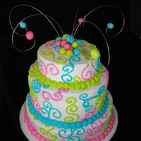 Bright Colors With Crazy Wire 3 tier chocolate cake covered in buttercream. Decorated with buttercream swirls and fondant balls. My 2 year old decided to help me...
