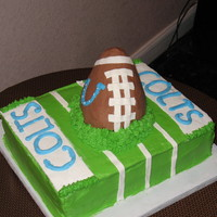 """colts"" Groom's Cake used ""Sarah's Red Velvet Cake TWEAKED"" recipe from CC and it is a wonderful cake recipe!! used Wilton Cream cheese icing..."