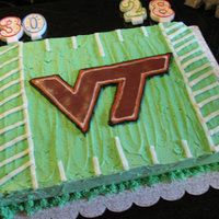 Virginia Tech Birthday Cake Confetti cake with buttercream icing, the VT logo was created by using the Frozen Buttercream Transfer method: http://cakecentral.com/...