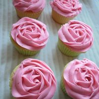 Rose Cupcakes First attempt at the rose cupcakes for cupcake boquets. Swiss meringue buttercream with strawberry preserves mixed in.