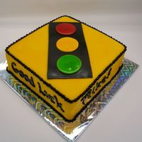 Traffic Light Sign Airbrushed fondant for the first time as the primary color. Sooo much easier than kneading in color! All fondant with buttercream borders...