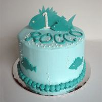 Fish Birthday Smash Cake All buttercream except the fish, which were cut out to match a graphic used on the invitations.