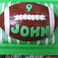 John's Football Cake This one turned out fantastic! Both the field and cake were lemon cakes with imbc. The green and white are mmf and the brown is chocolate...