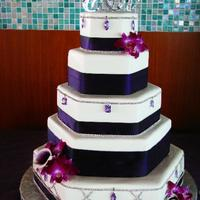 "Hexagon Wedding Cake This is a wedding cake I Satruday for an NFL player in my city. It is a 5-tiered hexagon...6"", 9"", 12"", 15"", and 18&..."