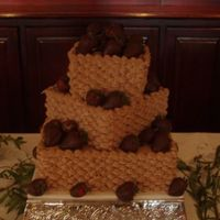 Square Basketweave   chocolate cake with choc buttercreme basketweave w/ chocolate covered strawberries