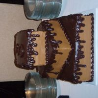 Caramel With Ganache Drip   yellow cake with caramel icing and choc ganache drip