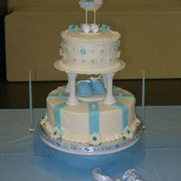 Baby Shower Cake It's A Boy All yellow cake, buttercream icing, bottom layer raspberry filled, top layerlemon filled. Fondant baby (in carriage) booties and letters,...