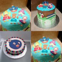 "Ryan's Backyardigans Cake  This is a Backyardigans birthday cake for a little boy, Ryan, who is turningone. The little Pablo cake is his ""mess"" cake. It was..."