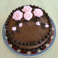 Chocolate Cake With Pink Roses   Chocolate Cake with Pink Roses Birthday Cake