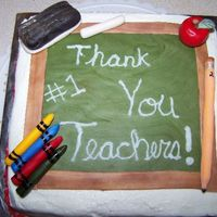 Teacher Appreciation fudge marble cake with bc frosting. apple, crayons, pencil, chalk, eraser, and chalk board are fondantinspired by many on here. Thanks