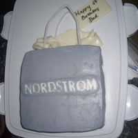 Nordstrom Bag Chocolate Cake, Dulce de leche filling, buttercream icing.