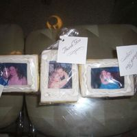 Picture Frame Cookies Sugar cookies, decorated with RBC, royal icing accents, and edible image.