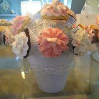 Cupcake Flower Centerpiece Chocolate and Vanilla cupcakes with buttercream flowers as a centerpiece.