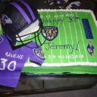 Ravens Cake 1/3 chocolate, 1/3 vanilla, 1/3 marble cake. Ravens football helmet, jersey, and Ravens field. This was fun to make - I had wanted to do...
