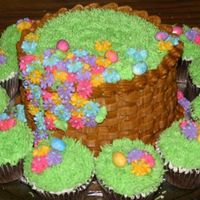 Easter Chocolate cake w/ buttercream icing and fondant easter eggs