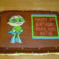 Super Why yellow sheet with chocolate buttercream
