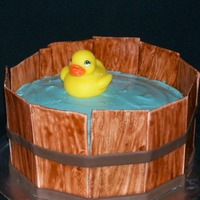 Duck Pond Saw so many duck bath/pond cakes, decided to do one myself. The cake is cinnamon toast cake with apple pie filling. Frosted with cinnamon...
