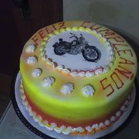 Cake For My Priest's Birthday WSCA cake covered in fondant and air brushed. My husband hand painted the motorcycle because our preist rides one. It was so cute with...