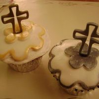 Easter Cupcakes   White cake with MMF painted with luster dust. I made these for our brunch table at Easter services.