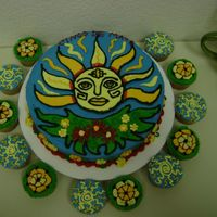 Cinco De Mayo Cake & Cupcakes Lime margarita cake with lime tequila buttercream. The image I designed, inspired by Mexican folk art mosaics. It's the largest...