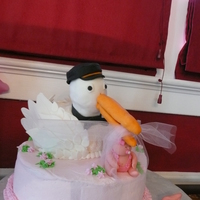 Stork Baby Shower Cake Stork cake for baby shower. I tell people it is actually a seagull that replaced the stork due to high baby volume. He is holding a baby in...