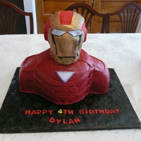 Ironman Iron man cake for my grandson's 4th birthday. Thanks for all the inspiration and the hints on how to do the cake. Head is RKT covered...