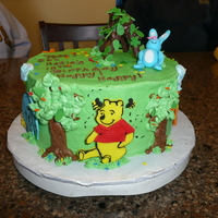 Pooh Corner Cake for my niece who is in a play with Winnie The Pooh. She is Early Rabbit ( the blue bunny) The figures are all fondant on buttercream...