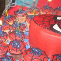 Spider-Man Birthday Cake With Spiderweb Cup Cakes