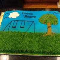 Block Party Full sheet cake for neighborhood party . this will be the first cake my new neighbors have seen of mine hope they like it.