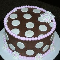 Chocolate And Pink With Polka Dots made to match a purse on the baby shower invitation. white cake, cream cheese filling and chocolate buttercream icing. fondant dots and...