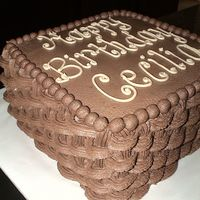 Chocolate Basketweave VERY last minute cake order. chocolate cake with choc BC filling and icing. VERY chocolate!