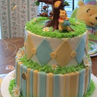 Winne The Pooh For Pooh Pa Bottom tier chocolate, top tier banana cake with buttercream. Fondant decorations and winnie the pooh topper.