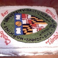 Jhu Center For Talented Youth Made a stencil of shield on paper and transferred it to the cake by poking holes with a pin.