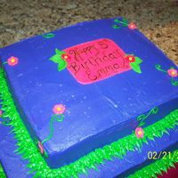 Tinkerbell Cake I MADE THIS CAKE FOR A FRIEND WHO'S LITTLE GIRL TURNED 5...SHE WANTED A TWO LAYER SQUARE CAKE THAT WAS PURPLE WITH A FEW VINES AND...