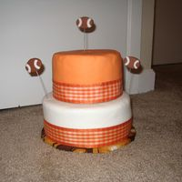 Cake For Tn Vols Game This was my first attempt at stacking, using SatinIce fondant, floral wires and ribbon. I also used a new icing to crumb coat (as u can c...
