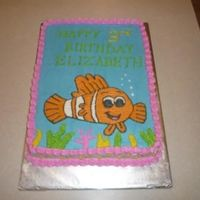 "Nemo Birthday Cake ""Rainbow"" cake (white cake with food coloring added) with all buttercream."