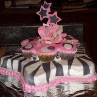 Zebra Star Cake With Cupcake Cake On Top