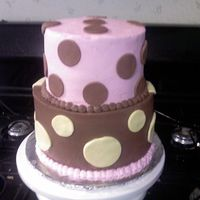 Polka Dot Cake  Bottom is Marble Cake with Chocolate Buttercream icing.Top is vanilla cake with buttercream icing with polka dot fondant accents.Cake was...