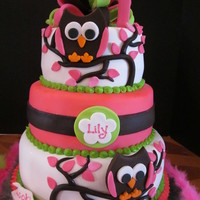 Lily's Whooos 1 This cake was done to match the decor of the party. All fondant. I hand cut and assembled the owls. I LOVE this cake.!!!!