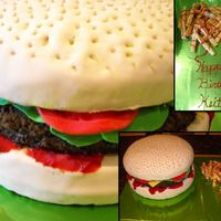 "Cheeseburger Cake 3-10"" peanut butter flavored cake. Covered in Fondant and the fries are sugar cookies."