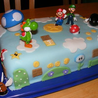 Super Mario Bros. Wii! first time really trying fondant, so please excuse the mistakes :) Had to make this for my son's 7th birthday, as he is obsessed with...
