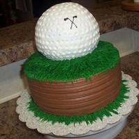 "Golf Cake The bottom round was made with chocolate cake 9"" rounds; the top was the sports ball cake in white and all covered with buttercream. I..."