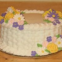 Course 2 Final Cake Course 2 basketweave cake with royal icing flowers